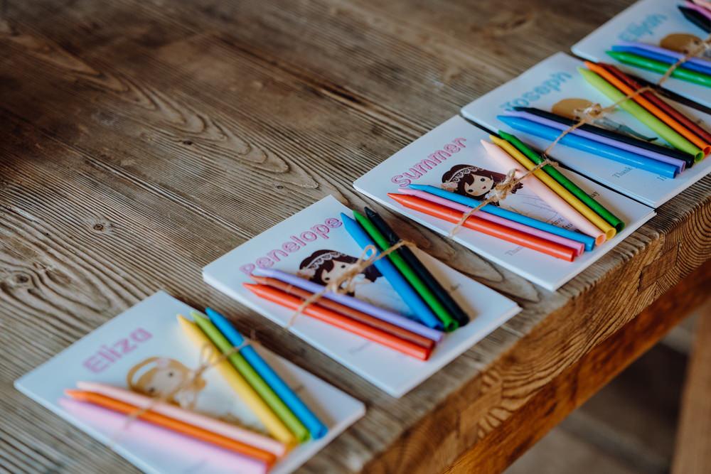 Kids Childrens Packs Colouring In Aquapetra Resort Spa Wedding Peter Hughes Photography
