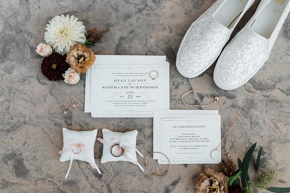 Stationery Intive Invitations Ring Pillow California Ranch Wedding WildflowerPhotoCo