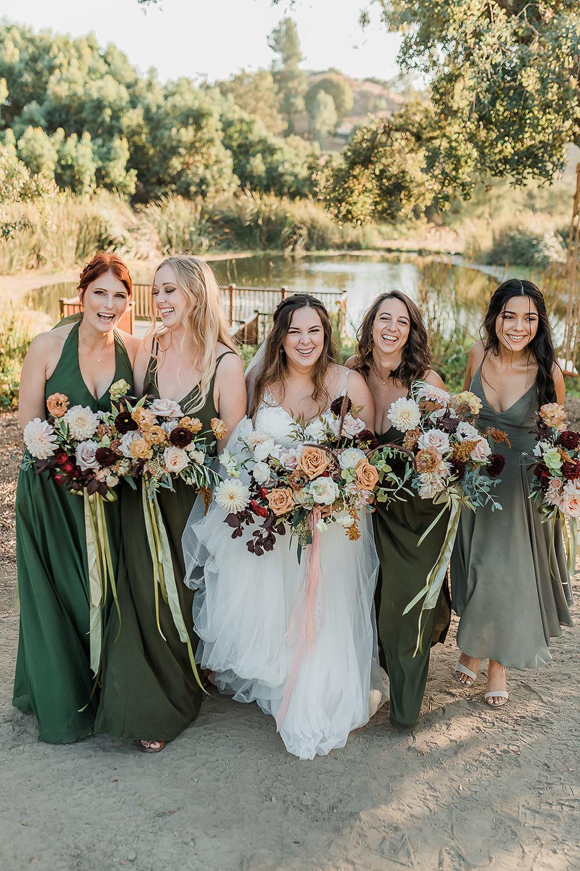 Bridesmaids Bridesmaid Dress Dresses Green California Ranch Wedding WildflowerPhotoCo