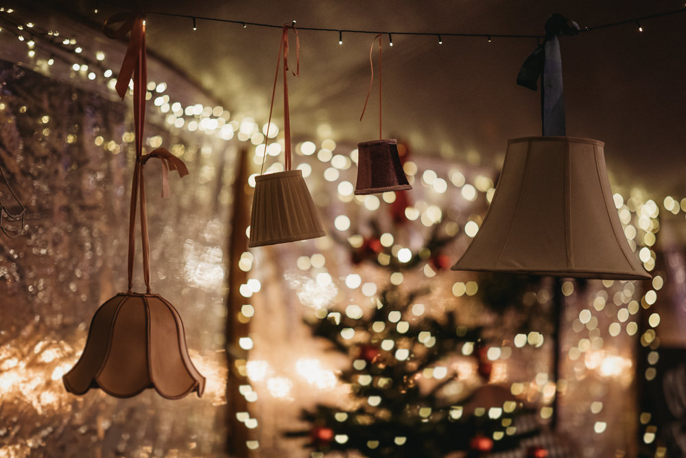 Hanging Lampshades Decor Christmas Marquee Wedding Thyme Lane Photography
