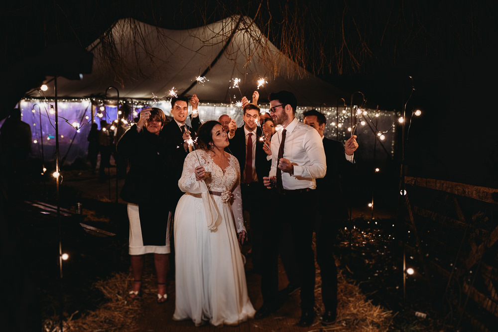 Sparklers Sparkler Send Off Exit Christmas Marquee Wedding Thyme Lane Photography