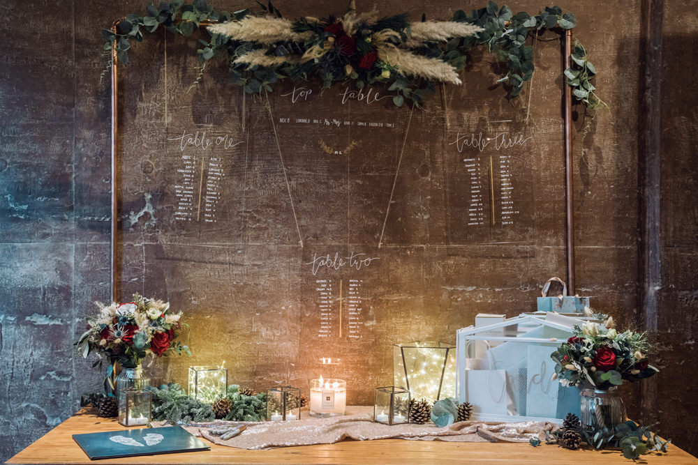 Table Plan Seating Chart Acrylic Perspex Pampas Grass Decadent Christmas Wedding Jessica Raphael Photography