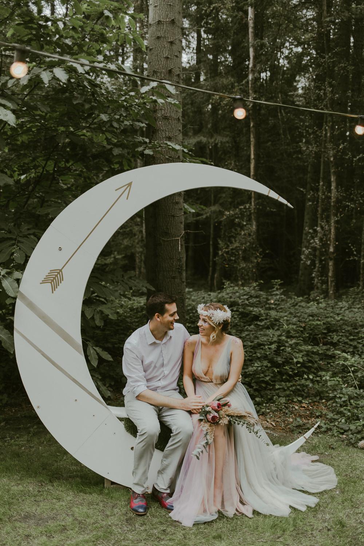 Crescent Moon Backdrop Photo Booth Dreamy Woodland Wedding Ideas Jasmine Andrews Photography