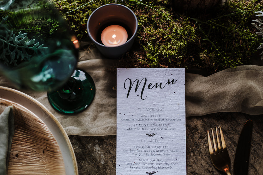 Menu Card Stationery Ethical Wedding Ideas Jenna Kathleen Photographer