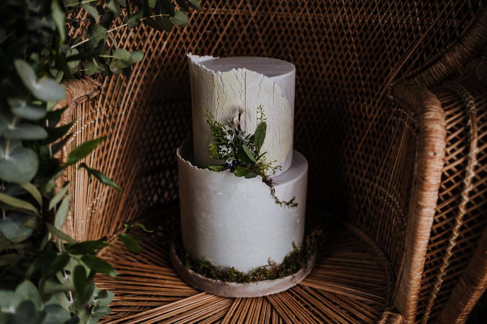Bark Stone Cake Greenery Foliage Ethical Wedding Ideas Jenna Kathleen Photographer
