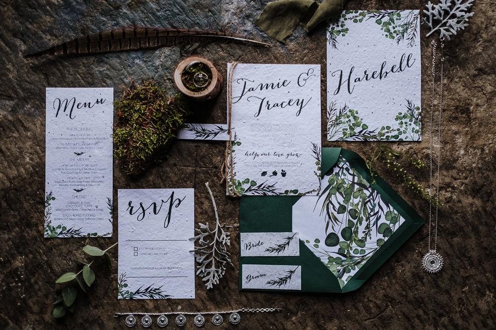 Stationery Invites Invitations Greenery Foliage Suite Ethical Wedding Ideas Jenna Kathleen Photographer