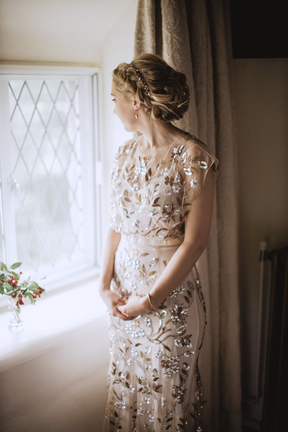 Dress Gown Bride Bridal BHLDN Sequin Beading Natural Marquee Wedding Fox & Bear Photography