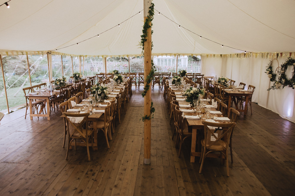Pole Tent Long Tables Decor Greenery Natural Marquee Wedding Fox & Bear Photography