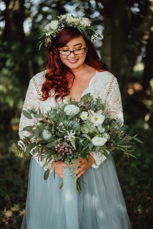 Flower Crown Bouquet Flowers Bride Bridal Thistle Greenery Ribbon Pitt Hall Barn Wedding Emily & Steve Photography