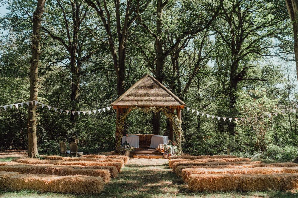Ceremony Woodland Gazebo Hay Bales Bunting Spillmans Copse Wedding Emily & Steve Photography