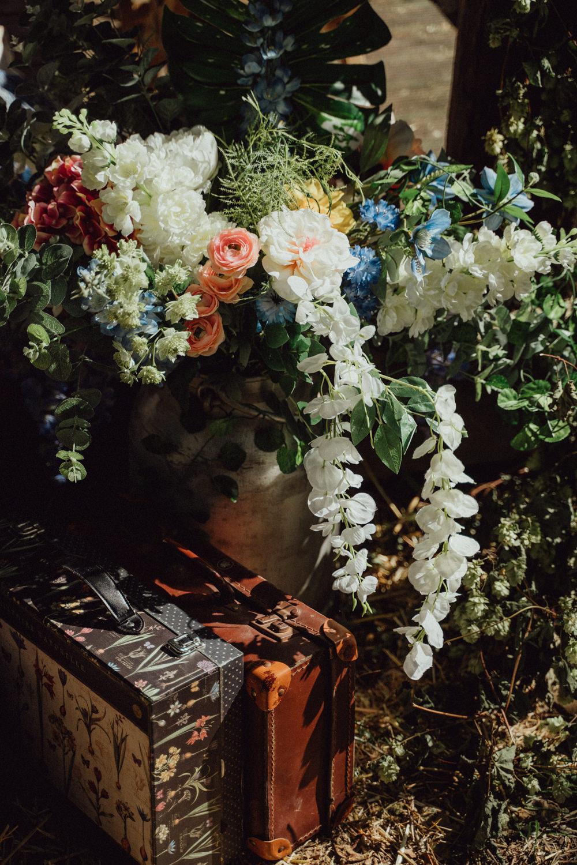 Milk Churn Flowers Decor Pitt Hall Barn Wedding Emily & Steve Photography