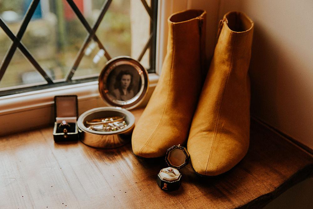 Mustard Boots Bride Bridal Simple Autumn Wedding Maddie Farris Photography