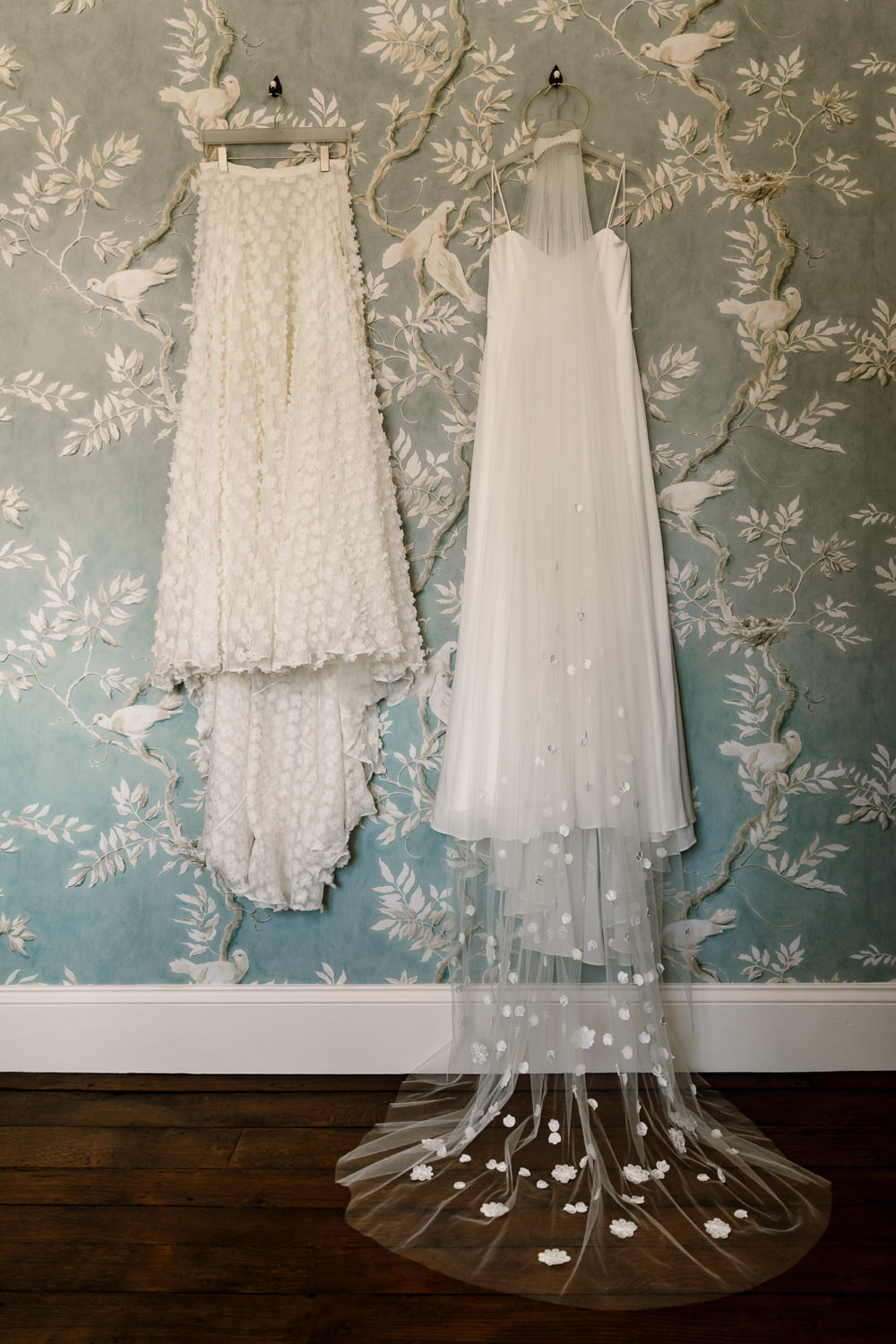 Charlie Brear Two Piece Skirt Top Dress Gown Bride Bridal Veil Sperry Tent Wedding Hayley Baxter Photography