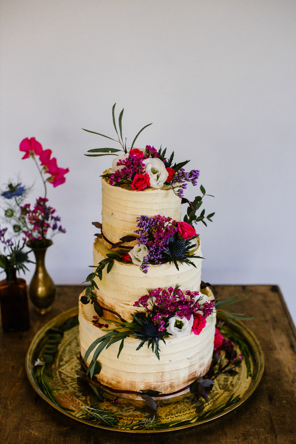 Buttercream Cake Flowers Floral Titchwell Manor Wedding Honey and The Moon Photography