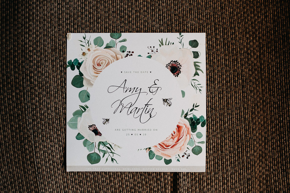 Floral Stationery Invite Invitation Tree Cathedral Wedding Milton Keynes Miracle Moments