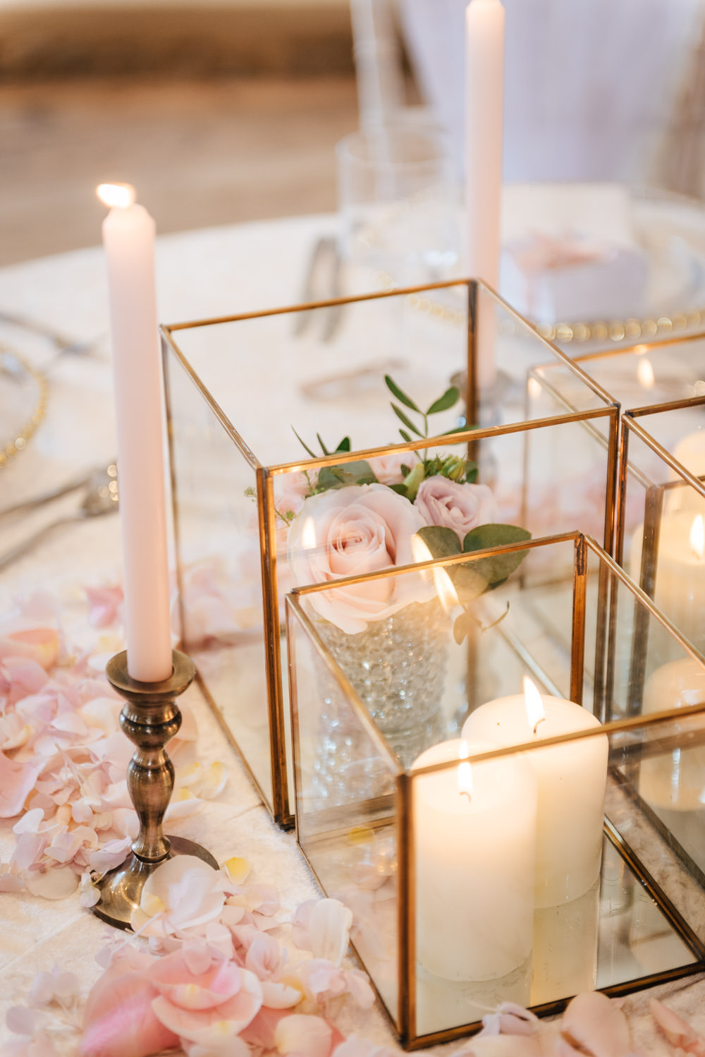 Table Decor Place Setting Pink Petals Candles Cherry Blossom Wedding Ideas Sugarbird Photography