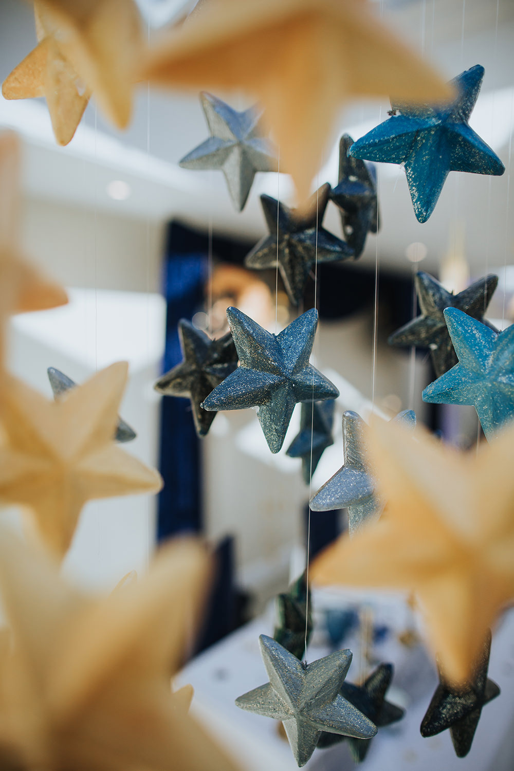 Tablescape Table Decor Hanging Suspended Blue Gold Moon Stars Wedding Ideas Olegs Samsonovs Photography