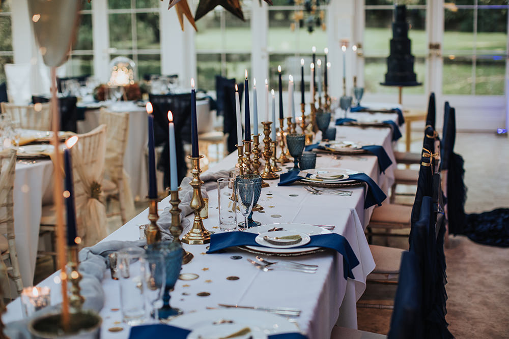 Tablescape Table Decor Hanging Suspended Blue Gold Candles Moon Stars Wedding Ideas Olegs Samsonovs Photography