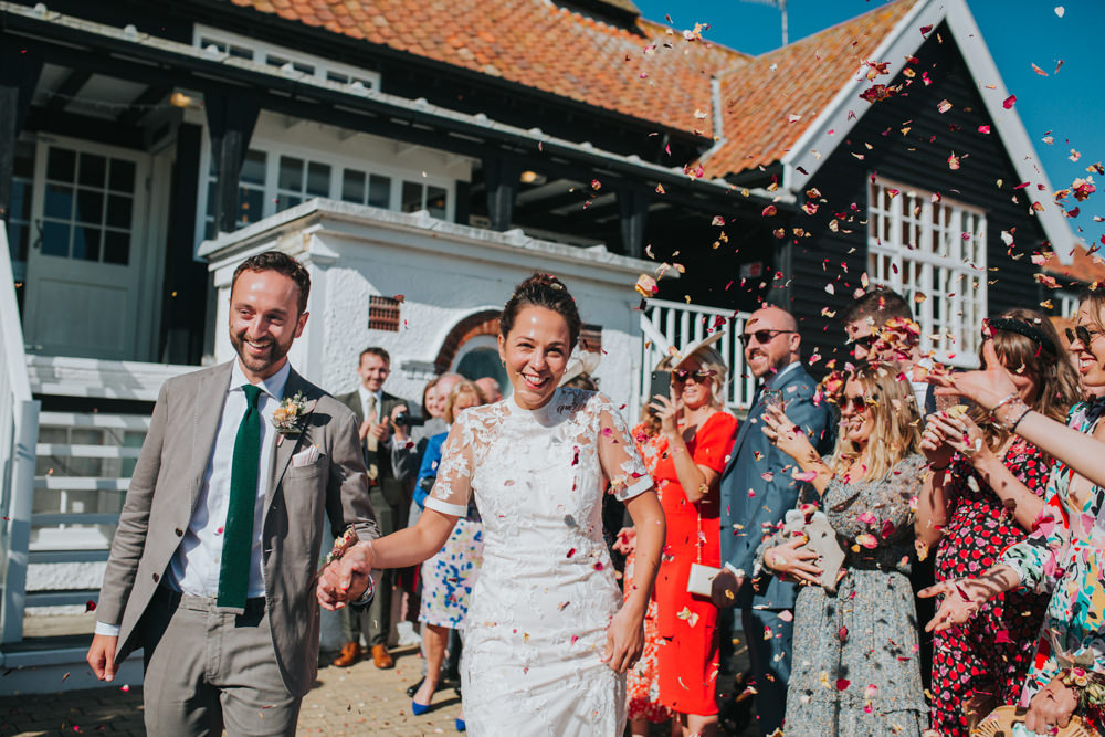 Confetti Throw Thorpeness Country Club Wedding Charlotte Razzell Photography