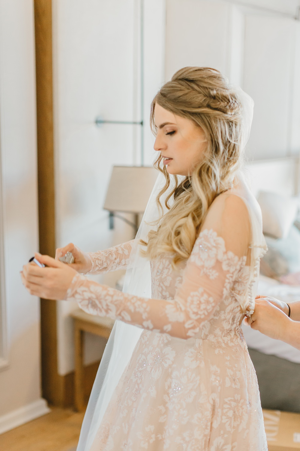 Dress Gown Bride Brida Long Sleeves Hayley Paige Veil York Minster Wedding Amy Lou Photography
