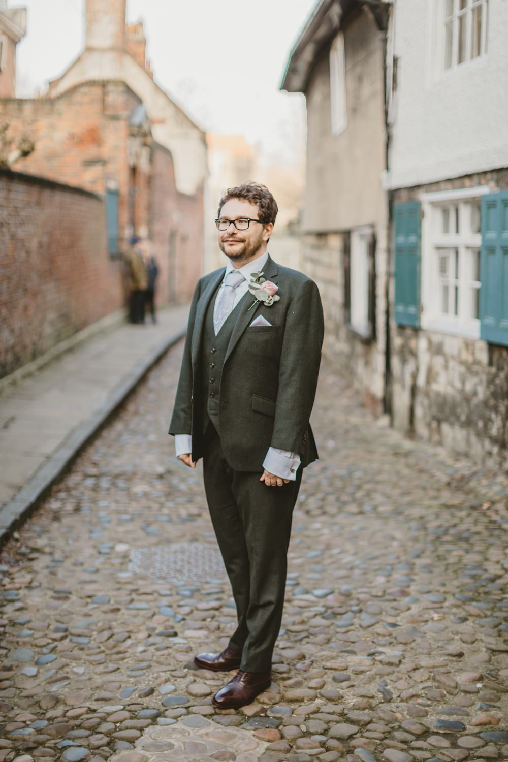 Groom Suit Green Tie York Minster Wedding Amy Lou Photography