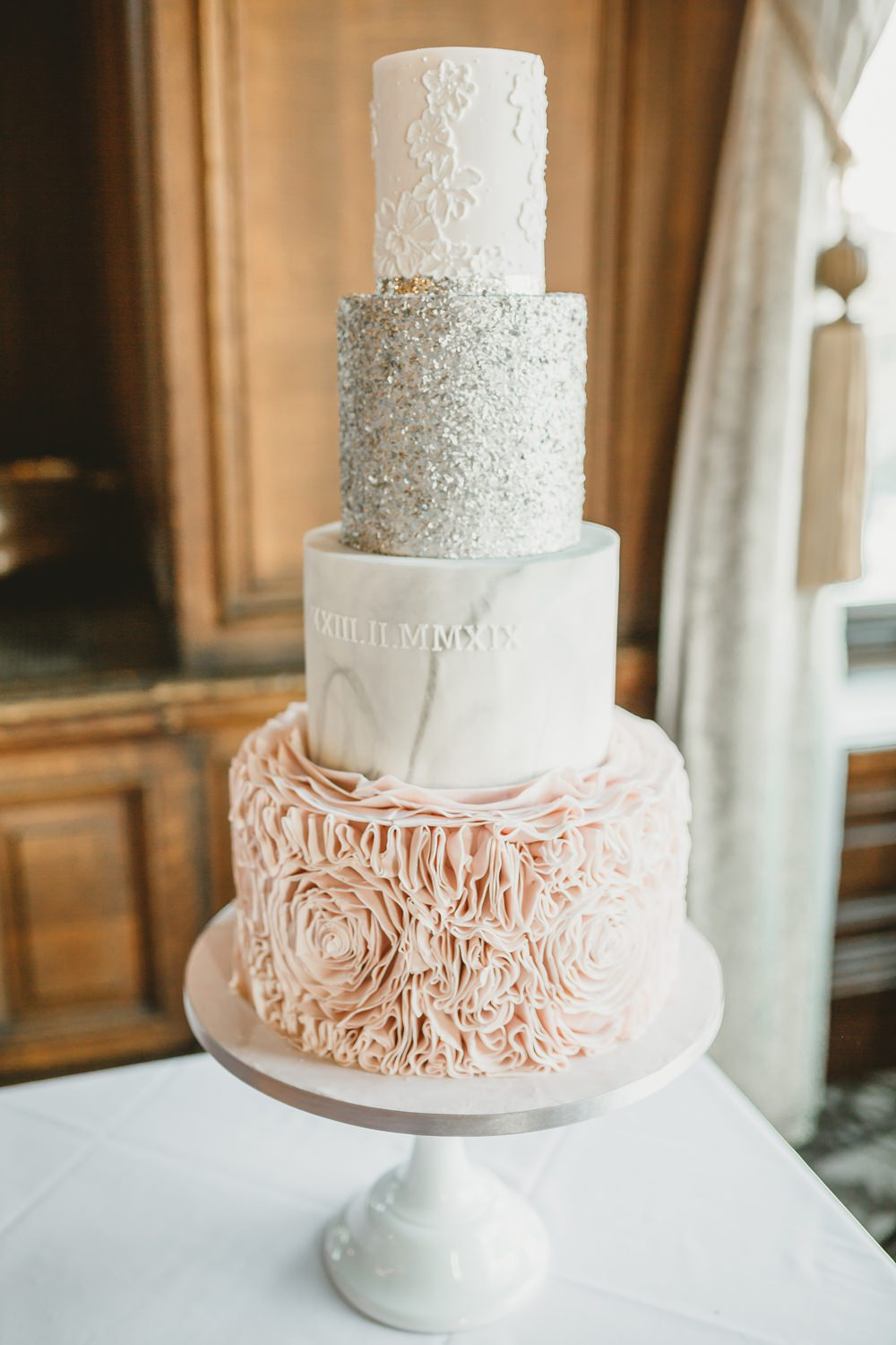 Cake Ruffle Pink Glitter Marble York Minster Wedding Amy Lou Photography