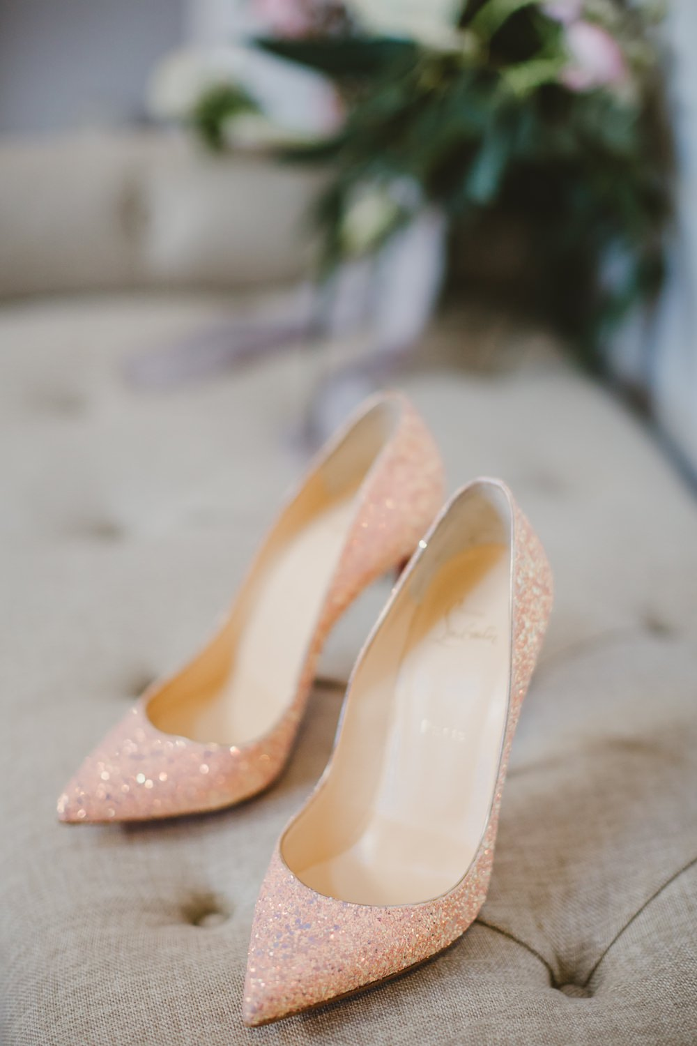 Louboutin Shoes Bride Bridal Pink Glitter York Minster Wedding Amy Lou Photography