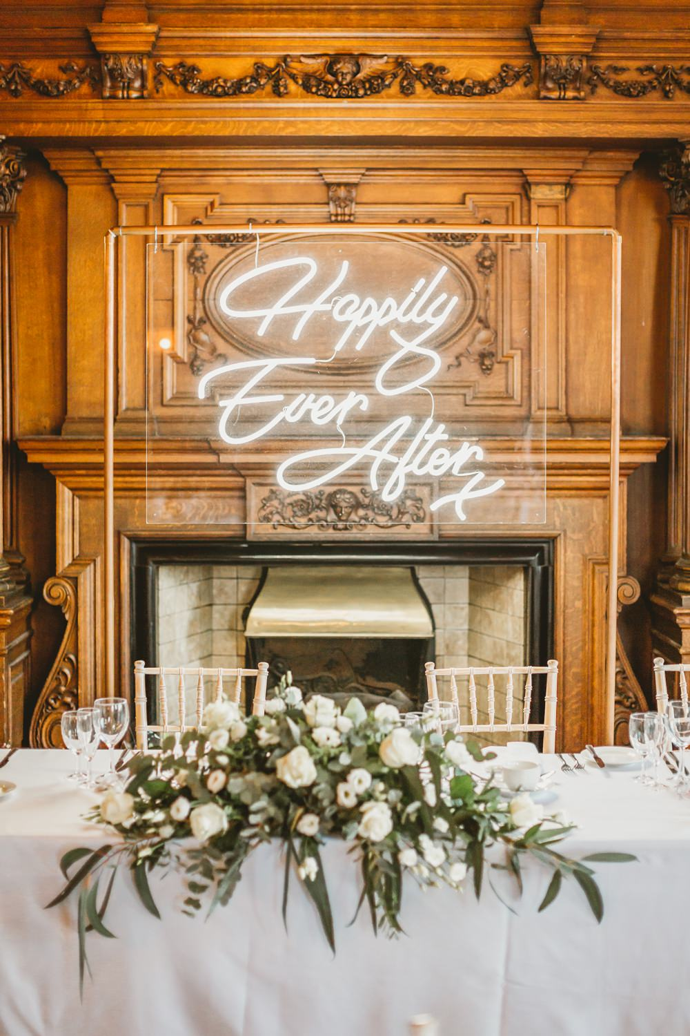 Neon Sign Backdrop Top Table Flowers York Minster Wedding Amy Lou Photography