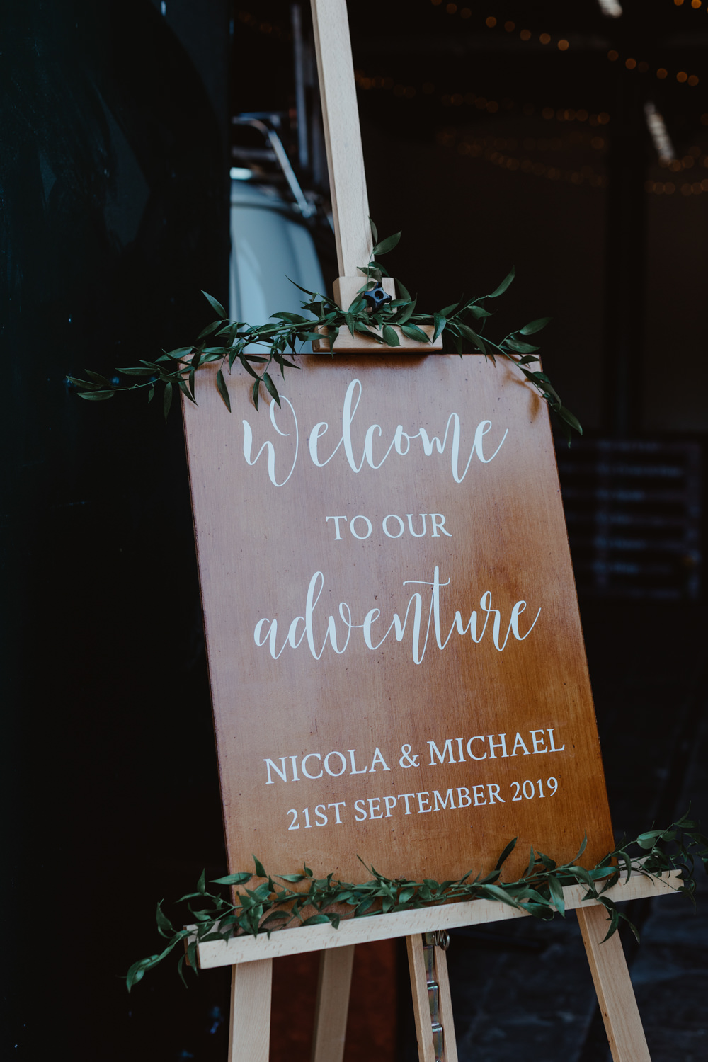Wooden Welcome Sign Signs Signage Arches Dean Clough Wedding Stevie Jay Photography