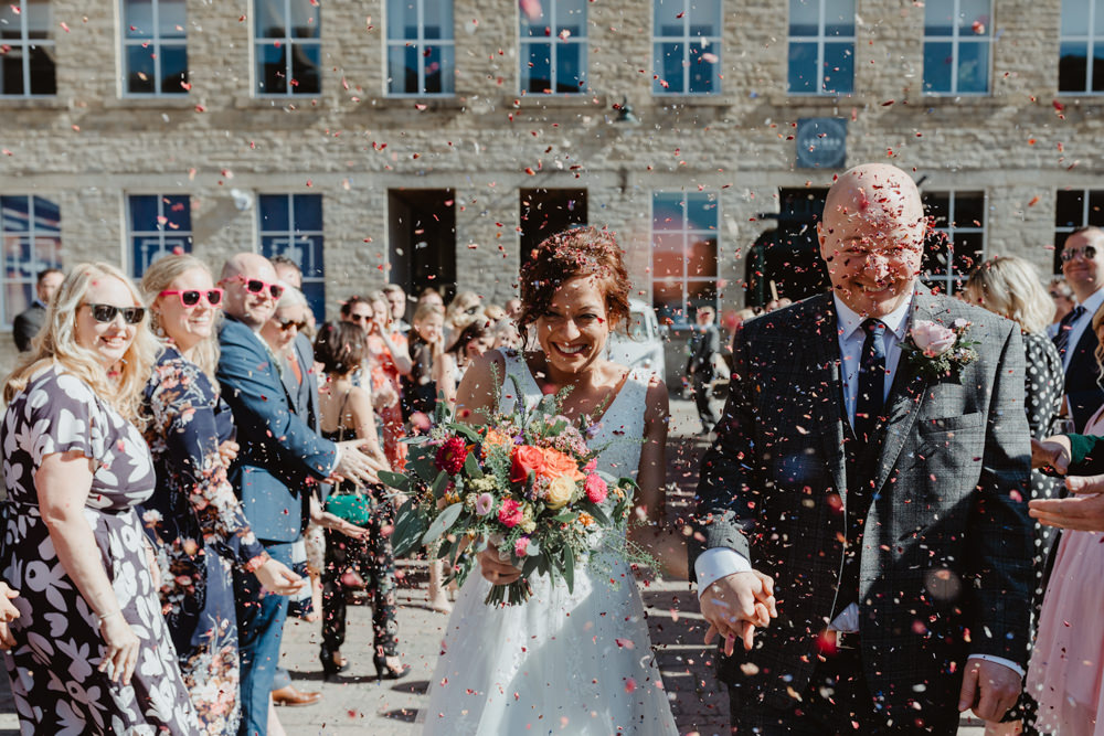 Confetti Arches Dean Clough Wedding Stevie Jay Photography