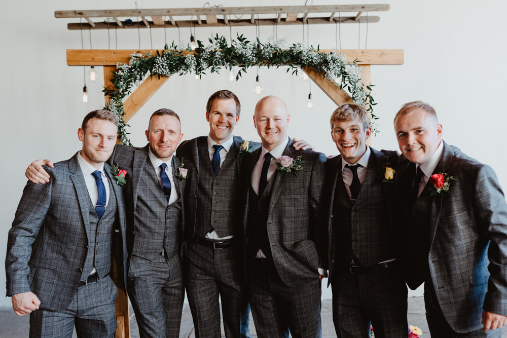 Groom Groomsmen Suit Grey Check Arches Dean Clough Wedding Stevie Jay Photography