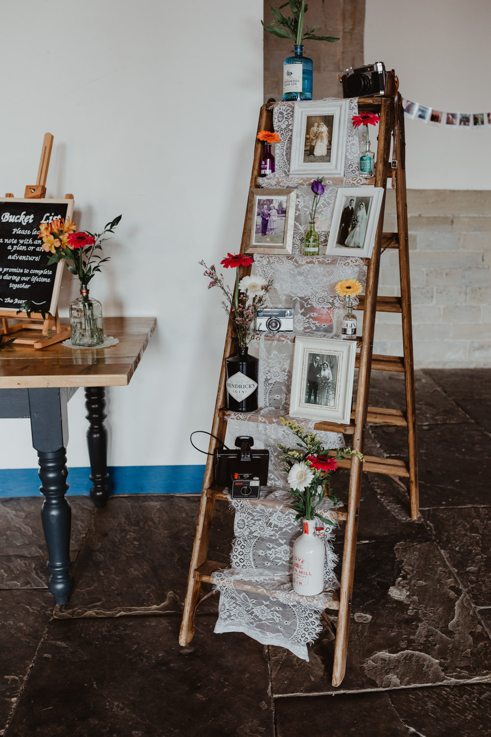 Wooden Ladder Decor Flowers Photographs Arches Dean Clough Wedding Stevie Jay Photography