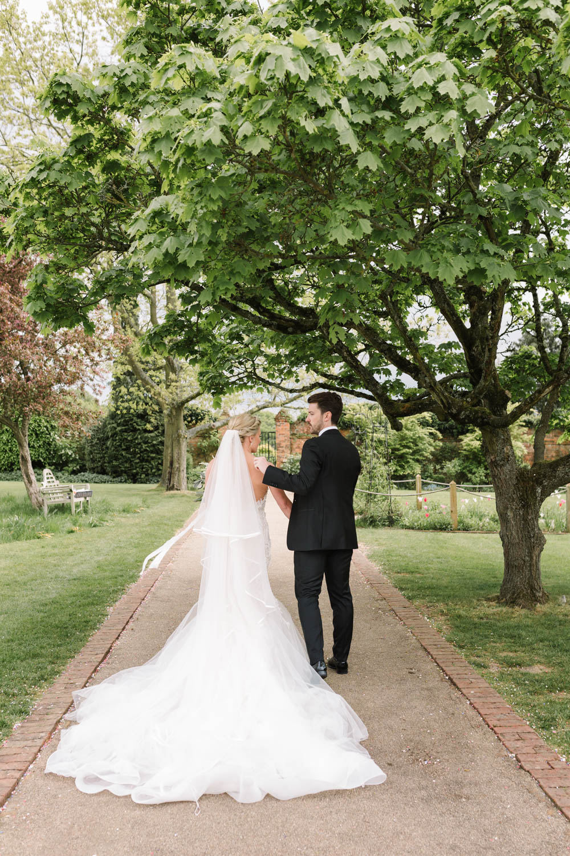Dress Gown Bride Bridal Pronovias 3D Lace Gemstone Embroidery Train Veil Dove Grey Wedding Danielle Smith Photography
