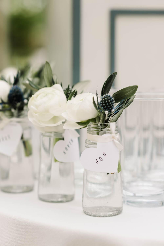 Flowers Jar Thistle Rose Buttonholes Dove Grey Wedding Danielle Smith Photography