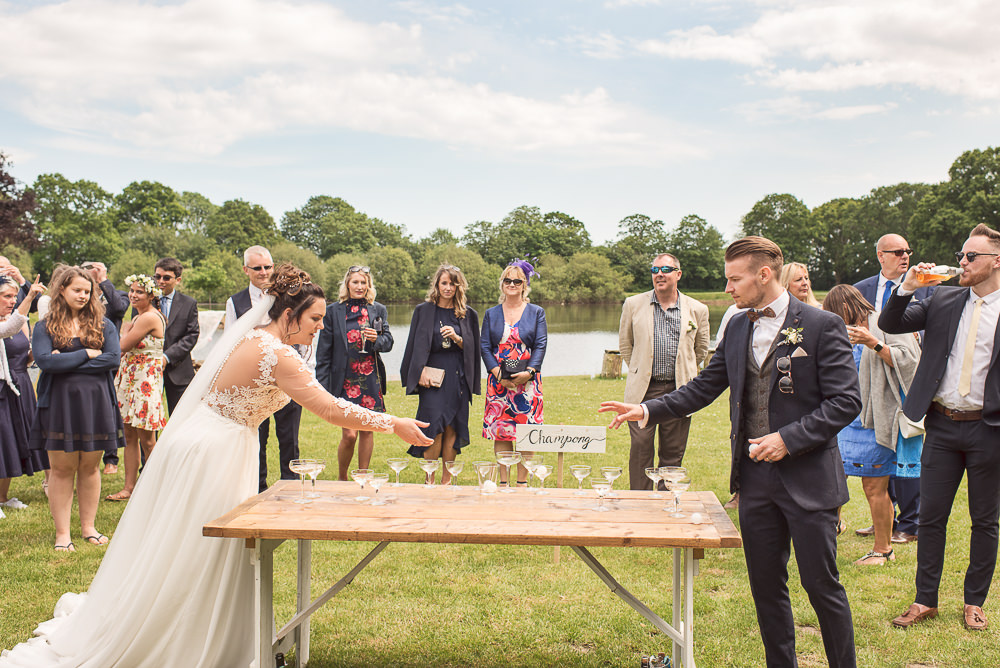 Beer Pong Champagne Game Sopley Lake Wedding One Thousand Words