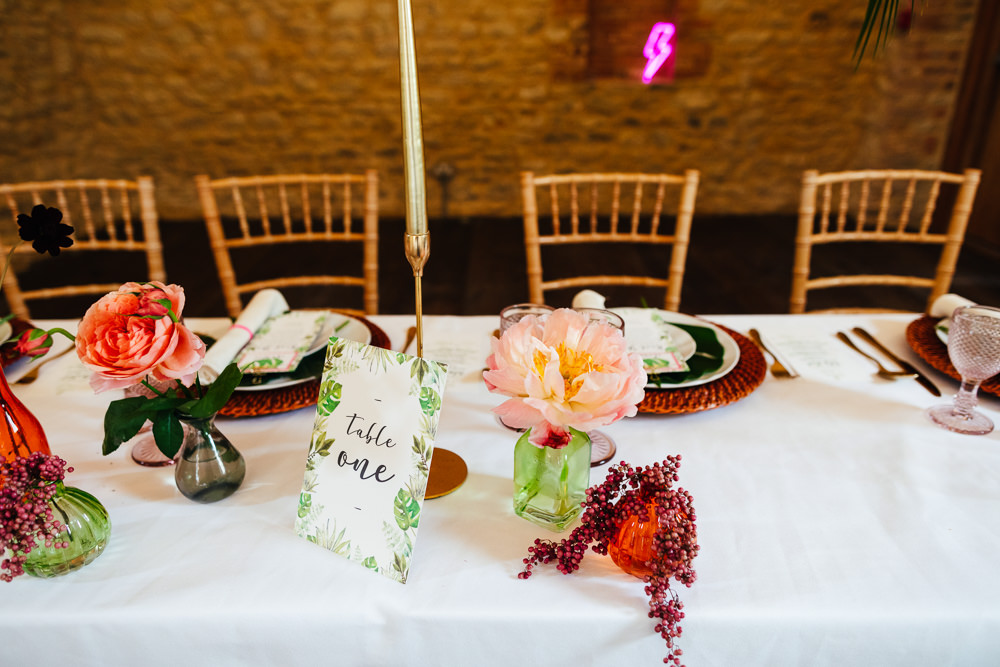 Barn Plants Hanging Suspended Table Tablescape Flowers Candles Tropical Wedding Inspiration Emily Little Photography