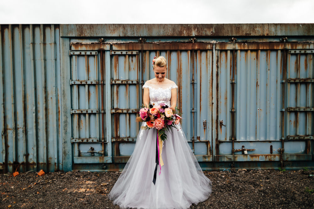 Dress Gown Bride Bridal Grey Lace Tropical Wedding Inspiration Emily Little Photography