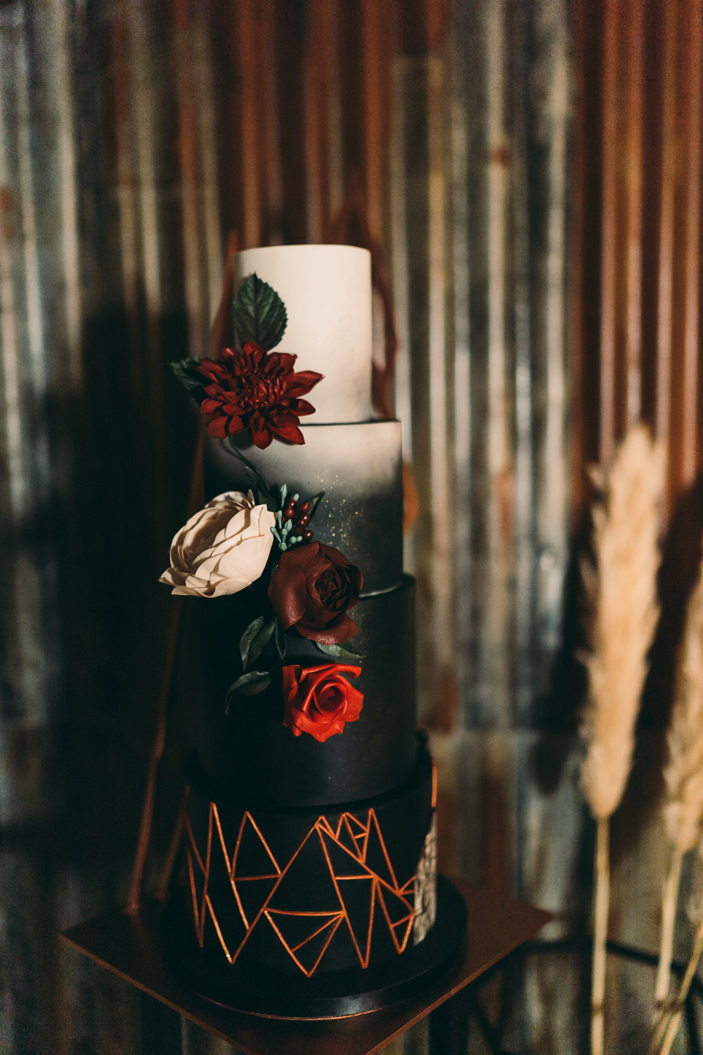 Geometric Copper Black Cake Flowers Floral Balloon Wedding Ideas Leesha Williams Photography