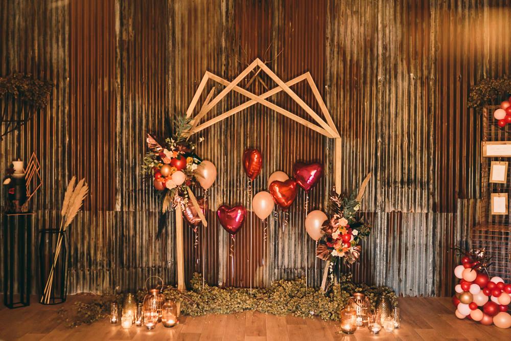 Geometric Backdrop Balloons Candles Ceremony Aisle Balloon Wedding Ideas Leesha Williams Photography