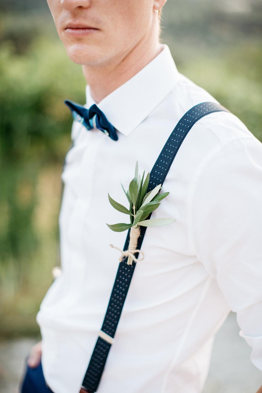 Groom Suit Blue Bow Tie Braces Buttonhole Crete Wedding HannaMonika Wedding Photography