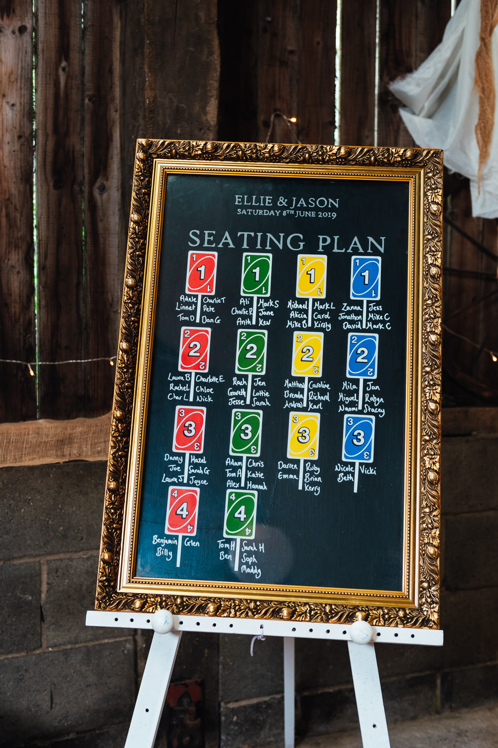 Table Plan Seating Chart Chalk Board Uno DIY Barn Wedding Jessica Grace Photography