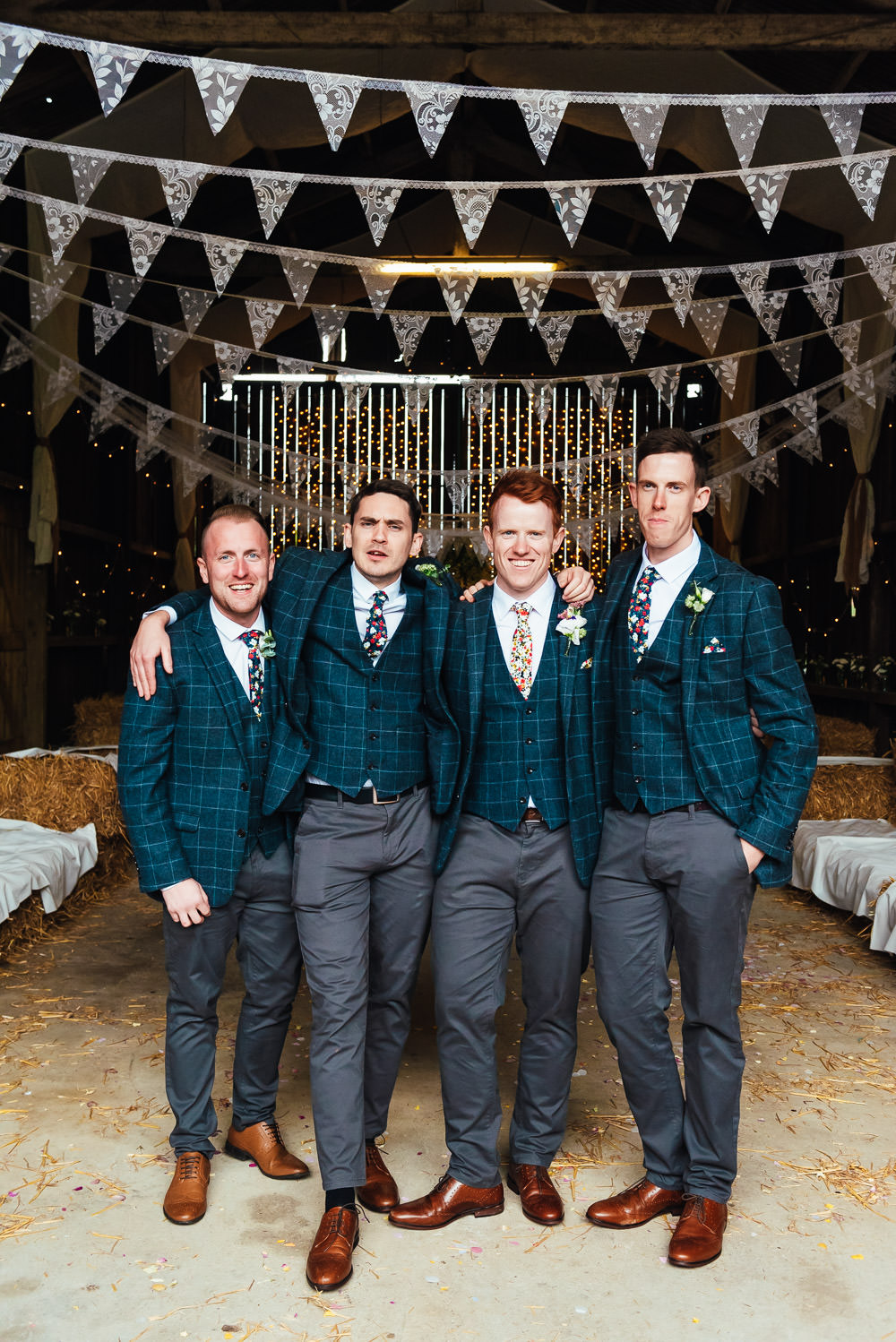 Groom Suit Blue Check Floral Tie Pocketsquare Groomsmen DIY Barn Wedding Jessica Grace Photography