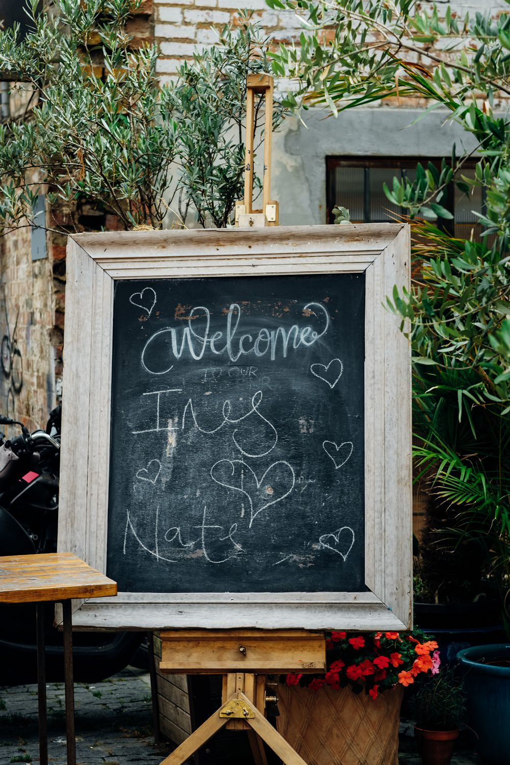 Welcome Sign Signs Signage Black Board Chalk East London Wedding Marianne Chua Photography