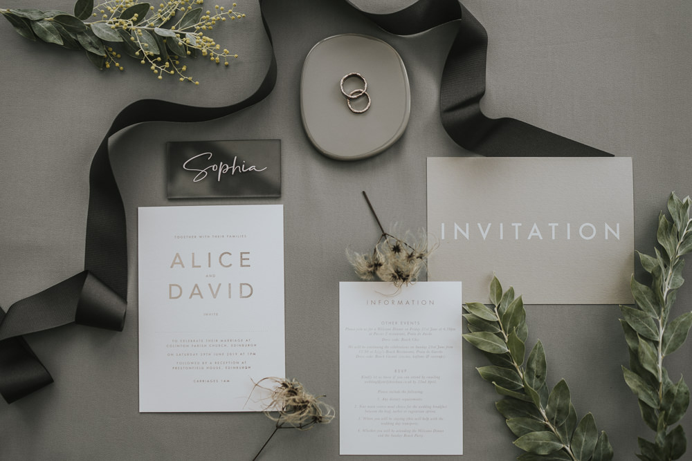 Stationery Suite Flat Lay Invite Invitations Grey Wedding Ideas Grace Elizabeth