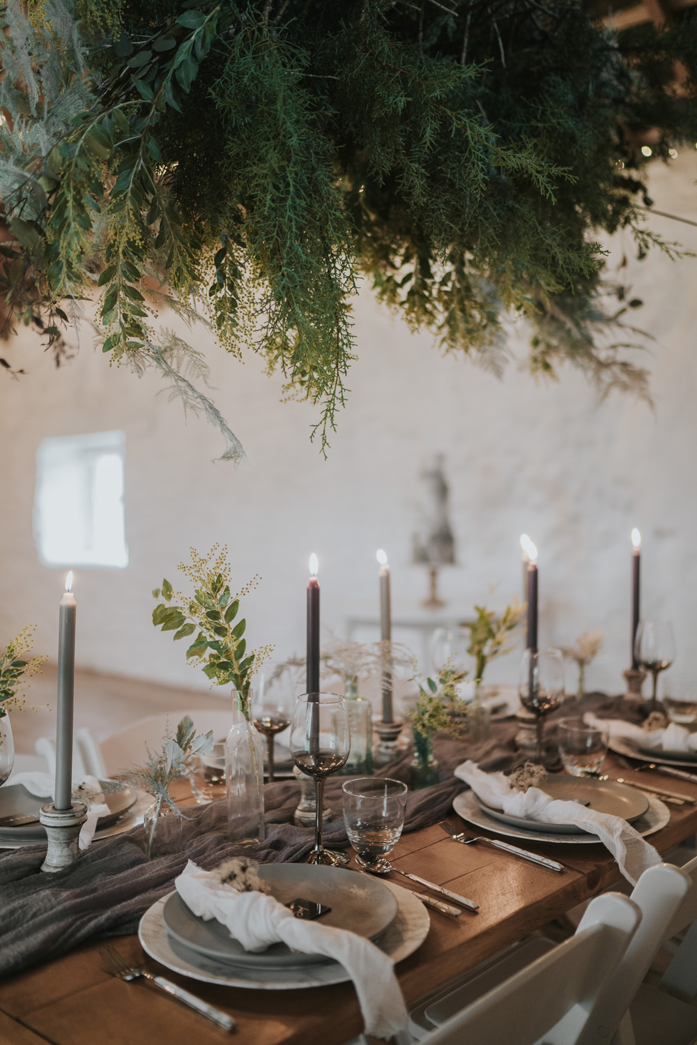 Table Tablescape Decor Table Runners Silk Candles Greenery Foliage Bottles Grey Wedding Ideas Grace Elizabeth