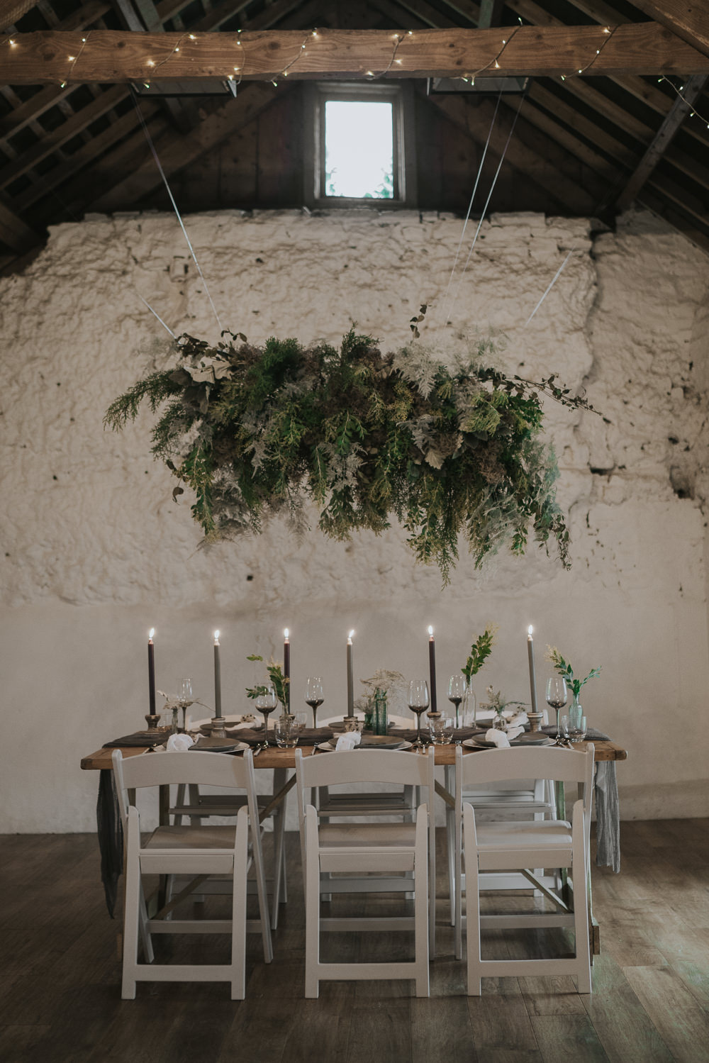 Suspended Flowers Installation Hanging Cloud Greenery Foliage Tablescape Grey Wedding Ideas Grace Elizabeth
