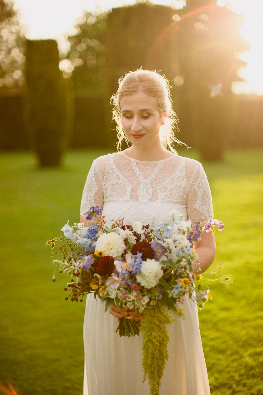 Dress Gown Bride Bridal Sleeves Valentina Grace Loves Lace Bouquet Flowers Bride Bridal Dahlia Daisy Holford Estate Wedding Voyteck Photography