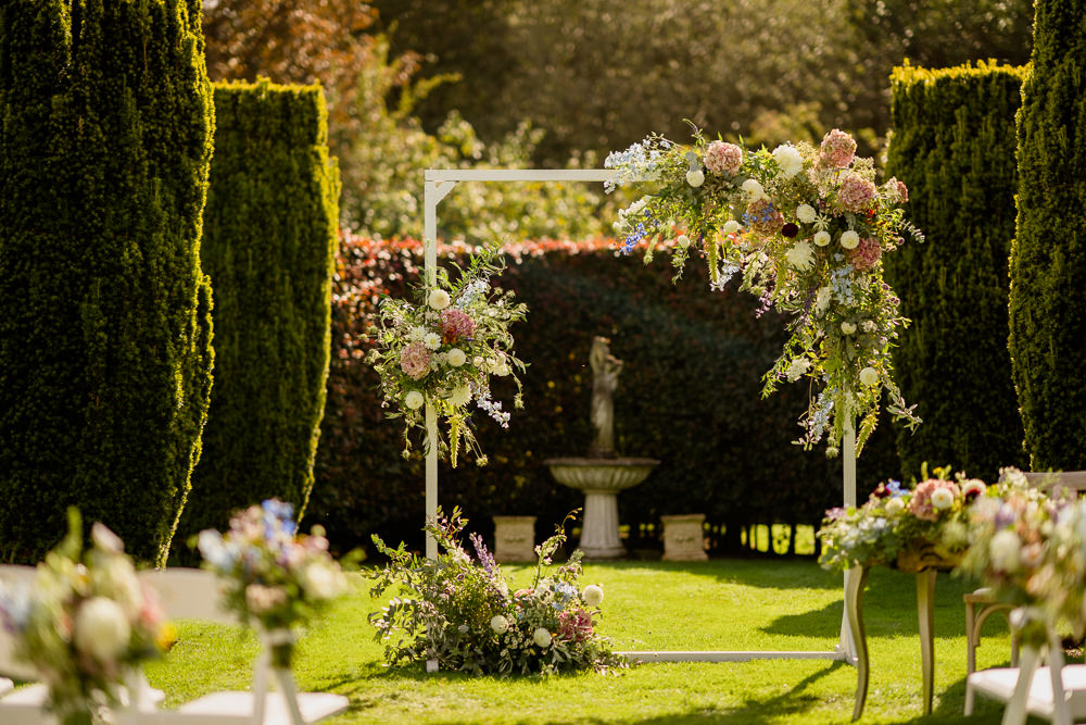 Outdoor Garden Ceremony Flower Arch Aisle Flowers Holford Estate Wedding Voyteck Photography