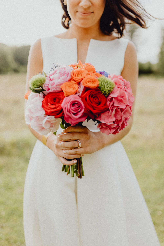 Bouquet Flowers Bride Bridal Colourful Hydrangeas Ranunculi Peonies Orange Pink Intimate Pub Wedding Heather Sham Photography