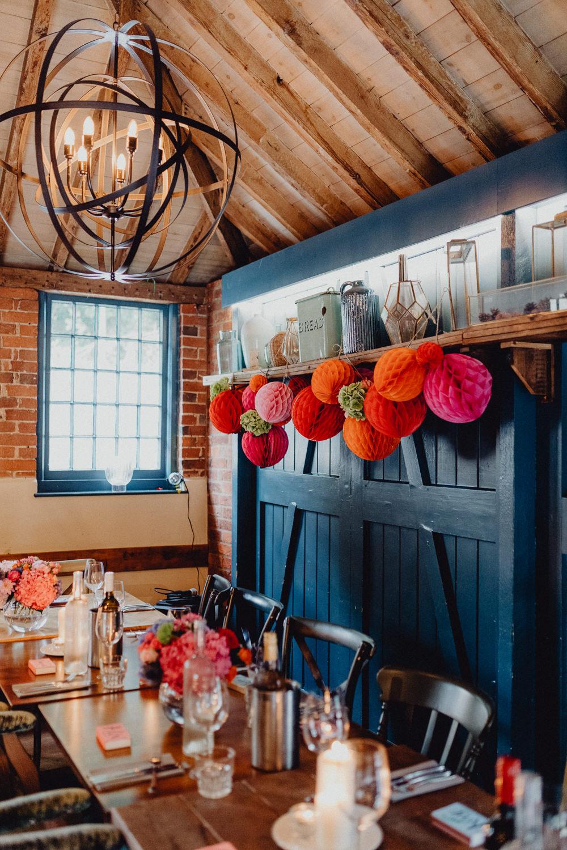 Barn Reception Pom Pom Honeycomb Pink Orange Intimate Pub Wedding Heather Sham Photography